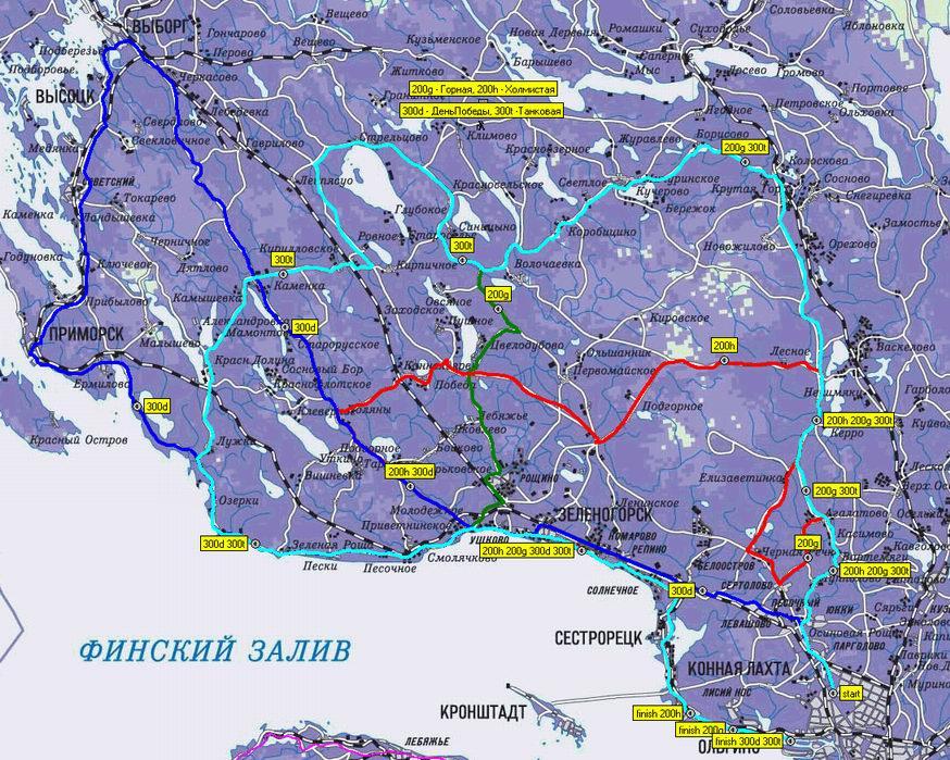 Карта маршрутов всех южных